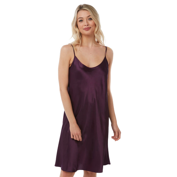 Plain Purple Satin Chemise Adjustable Straps Knee Length Plus Size