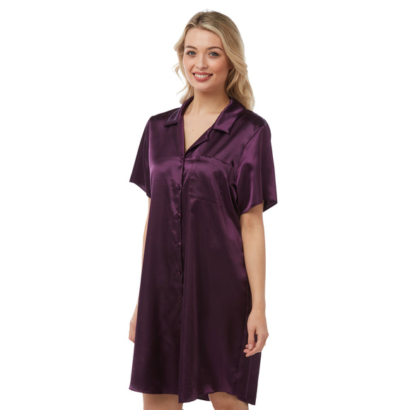 Plain Purple Satin Nightshirt Short Sleeve Knee Length PLUS SIZE
