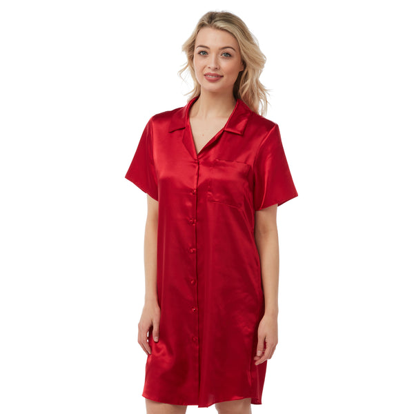 Plain Red Satin Nightshirt Short Sleeve Knee Length PLUS SIZE