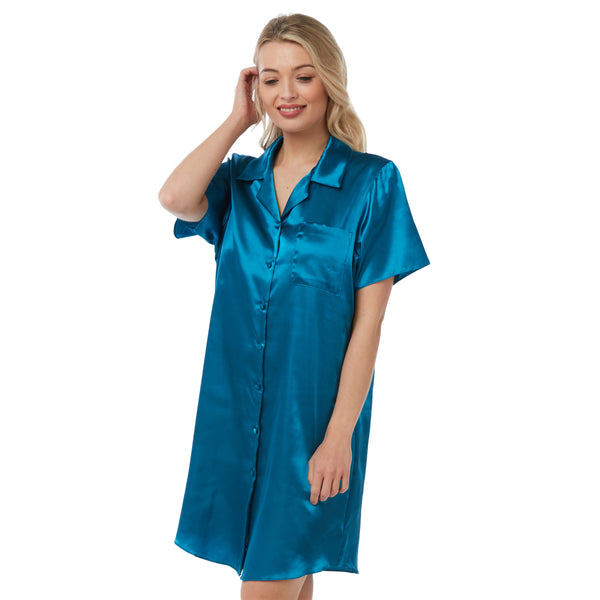 Plain Teal Satin Nightshirt Short Sleeve Knee Length PLUS SIZE
