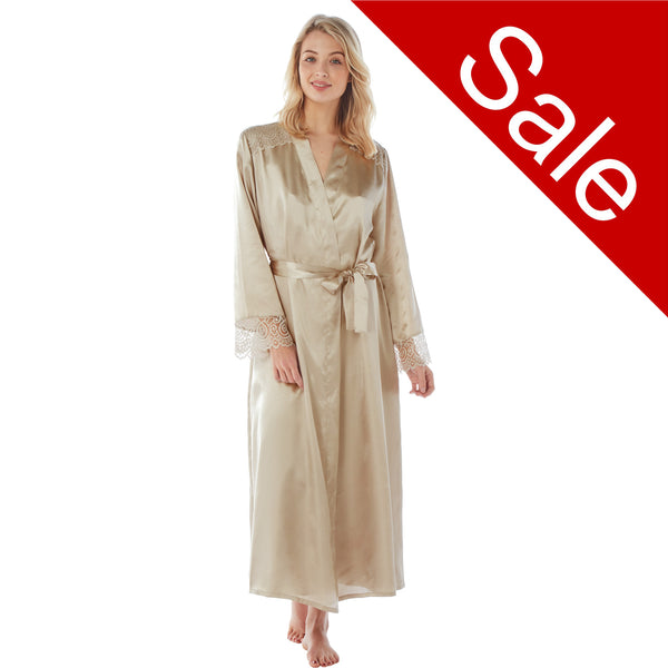 Sale Long Full Length Light Gold Satin and Lace Wrap