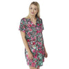 Floral Satin Nightshirt Short Sleeve Knee Length