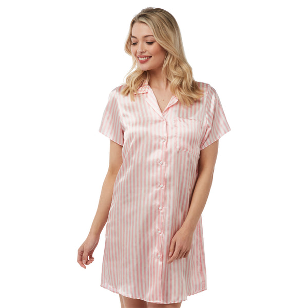 Pink Candy Stripe Satin Nightshirt Short Sleeve Knee Length