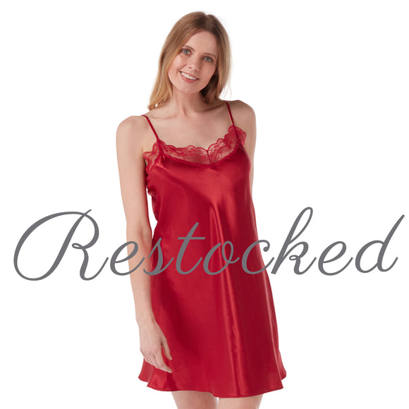 Plain Red Satin and Lace Chemise PLUS SIZE