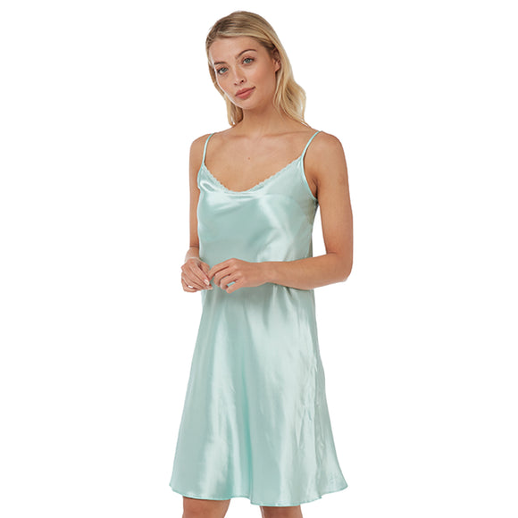 Plain Turquoise Satin Chemise Adjustable Straps Knee Length