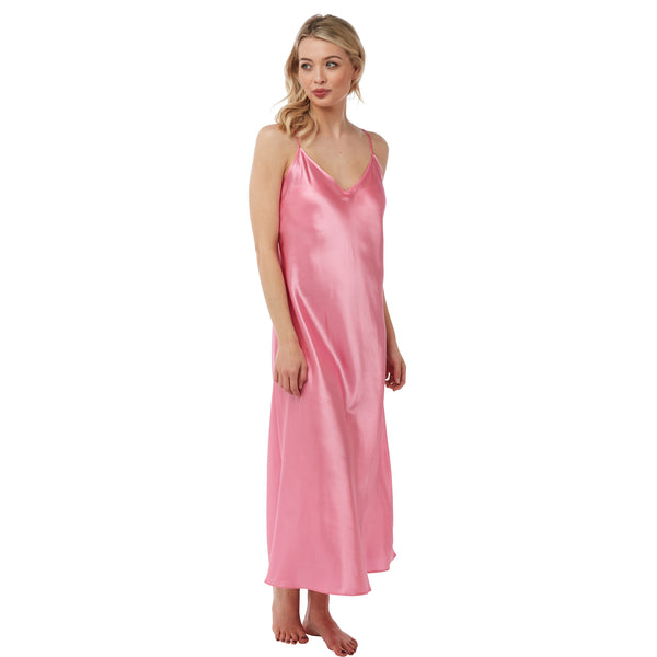 Long Full Length Plain Blossom Pink Satin Chemise Nightdress PLUS SIZE