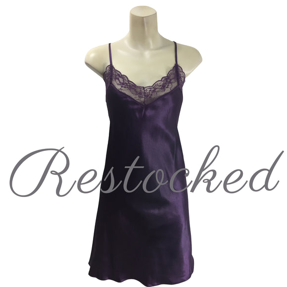 Plain Purple Satin and Lace Chemise Nightie PLUS SIZE
