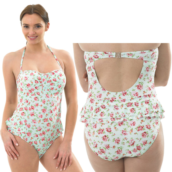 Rose Ditsy Pattern Swimming Costume Bathing Swimsuit Low Leg Halterneck