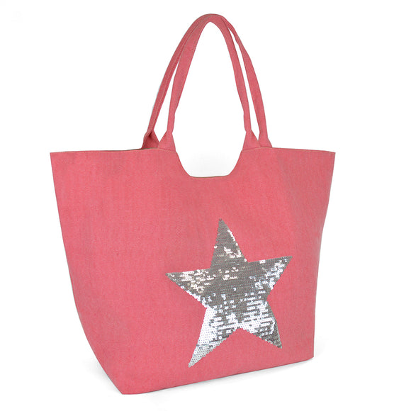 Star Sequin Pink Canvas Shopping Beach Bag Tote