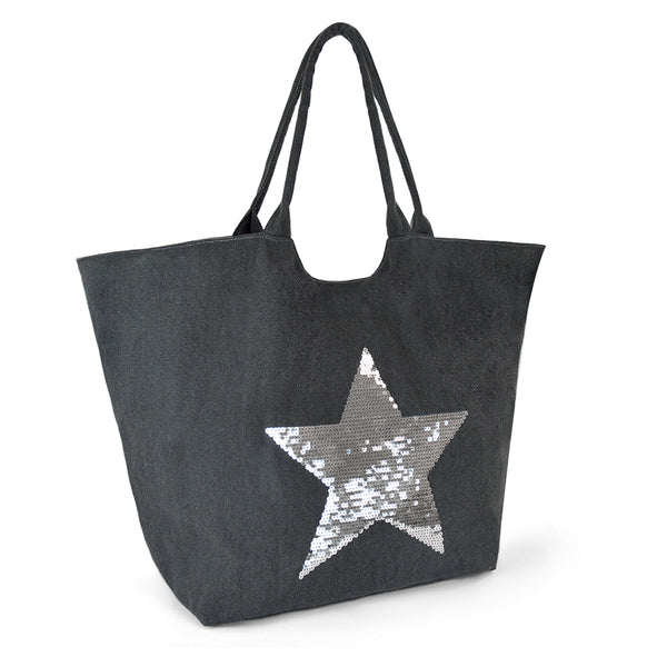 Star Sequin Grey Canvas Shopping Beach Bag Tote
