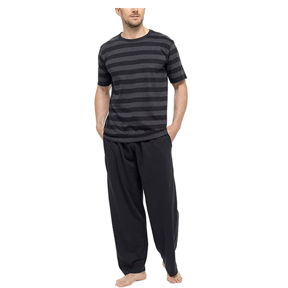 Black Grey Stripe Mens PJs Pyjamas Set Short Sleeve T Shirt