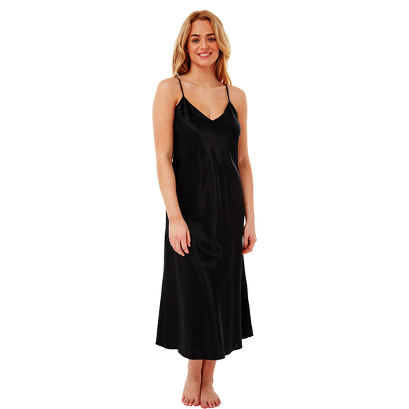 Long Full Length Plain Black Satin Chemise Nightdress PLUS SIZE