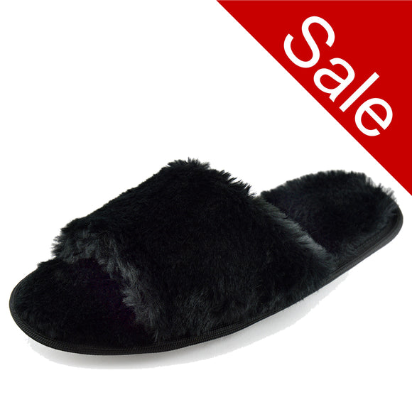 Ladies Black Fluffy Open Toe Slippers Mule