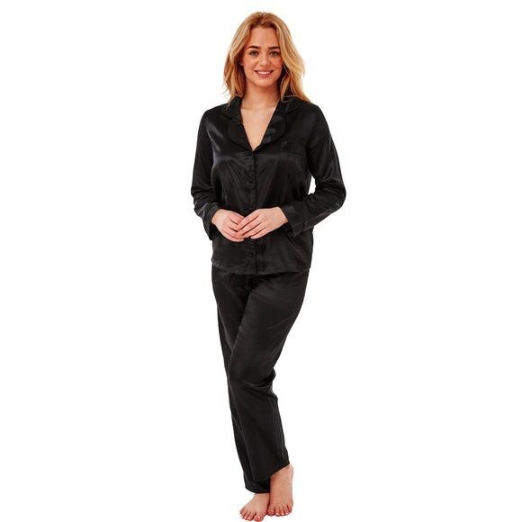 Ladies Plain Black Warm Lined Satin Pyjamas PJs PLUS SIZE
