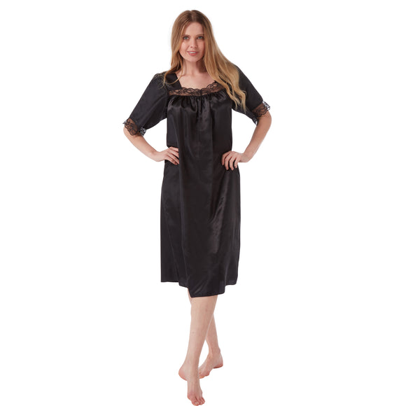 Plain Black Satin and Lace Short Sleeve Nightdress PLUS SIZE