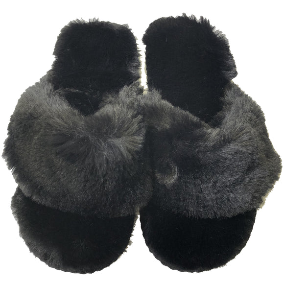 Ladies Black Fluffy Open Toe Post Slippers Mule