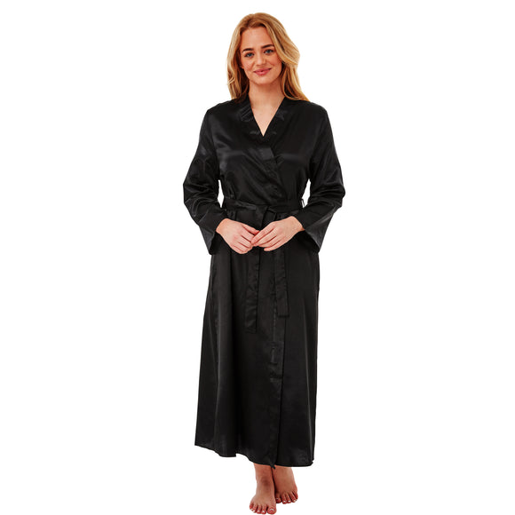 Long Full Length Satin Wrap Plain Black PLUS SIZE