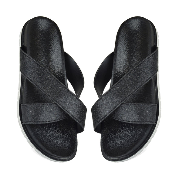 Black Sparkle Pool Sliders Flip Flops Beach Sandals