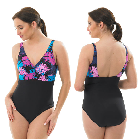 Black Floral Swimming Costume Bathing Swimsuit Low Leg