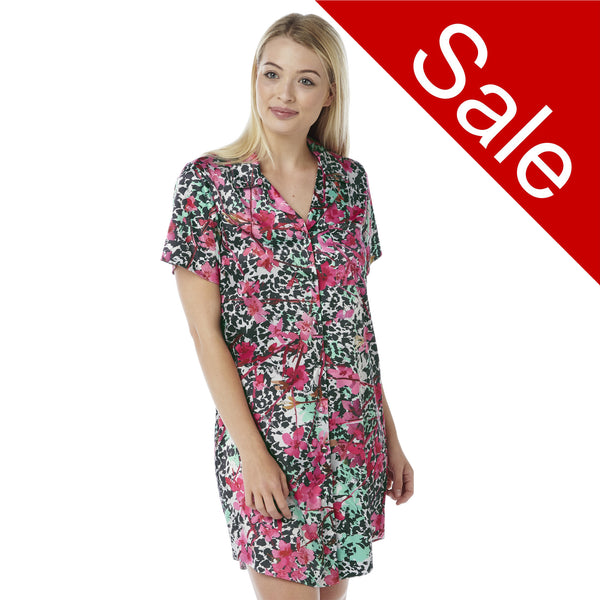Sale Pink Floral Satin Nightshirt Short Sleeve Knee Length