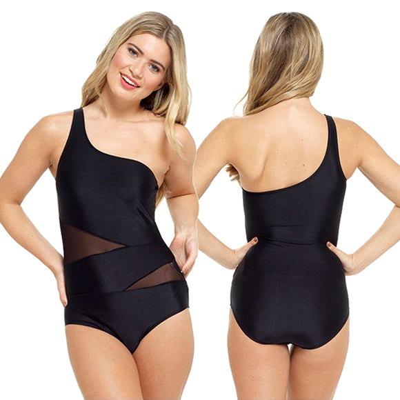 Black Swimming Costume Bathing Swimsuit One Piece