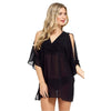 Black Chiffon Cold Shoulder Kaftan Cover Up