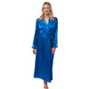 Long Full Length Plain Bright Blue Satin and Lace Wrap