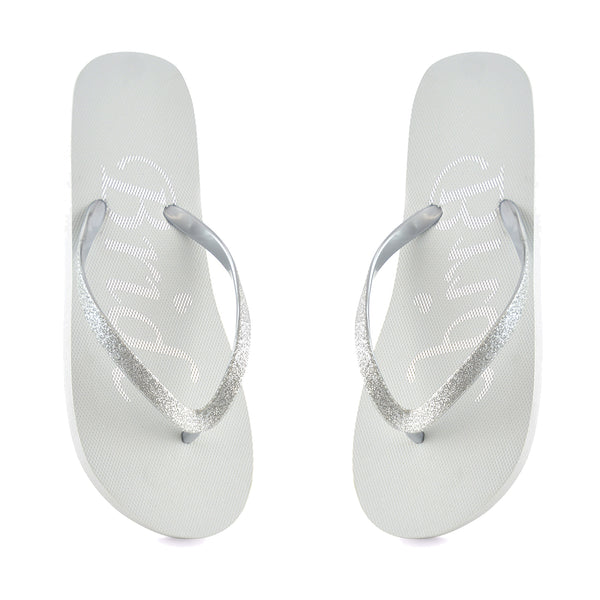 Bride Slogan Silver Sparkle Flip Flops Sliders Beach Sandals