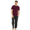 Burgundy Red Grey Stripe Mens PJs Pyjamas Set Short Sleeve T Shirt