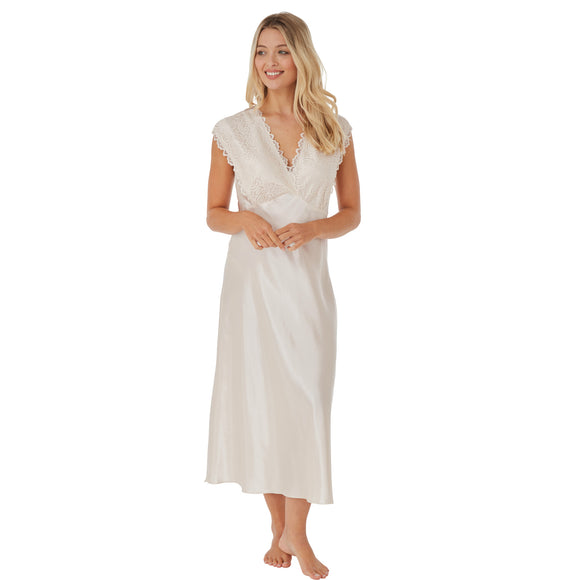 Plain Ivory Gold Wide Strap Full Length Long Satin Nightdress
