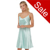 Sale Plain Turquoise Satin Chemise Adjustable Straps Knee Length