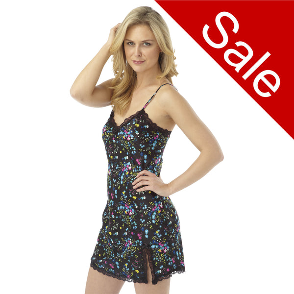 Sale Black Daisy Pattern Satin and Lace Chemise Nightie
