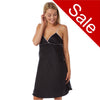 Sale Plain Black Satin Chemise With Pink Trim