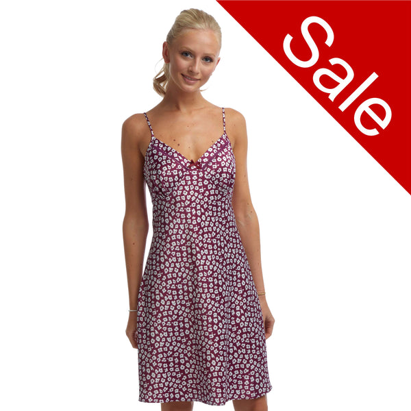 Sale Mulberry Purple Daisy Pattern Satin Chemise Adjustable Straps