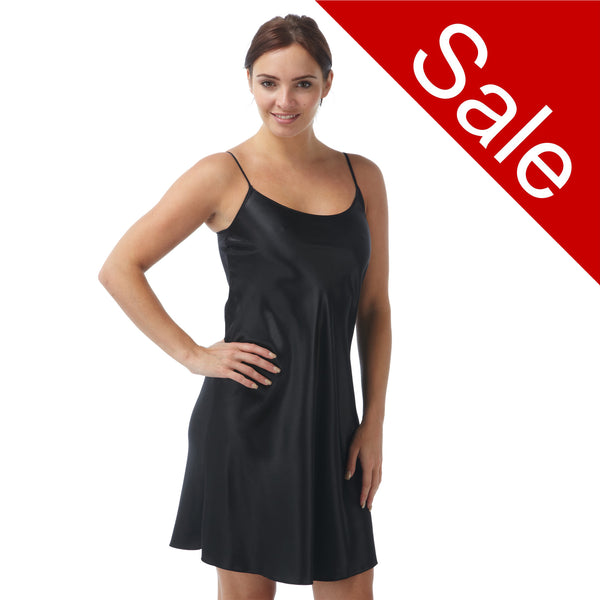 Sale Plain Black Satin Chemise Adjustable Straps Knee Length