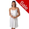 Sale Plain White Shiny Satin Chemise Adjustable Straps Knee Length