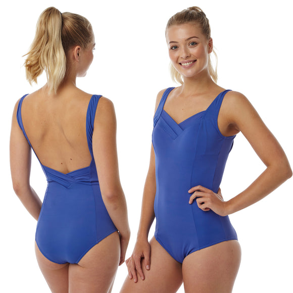 Plus Size Bright Blue Swimming Costume Bathing Swimsuit One Piece