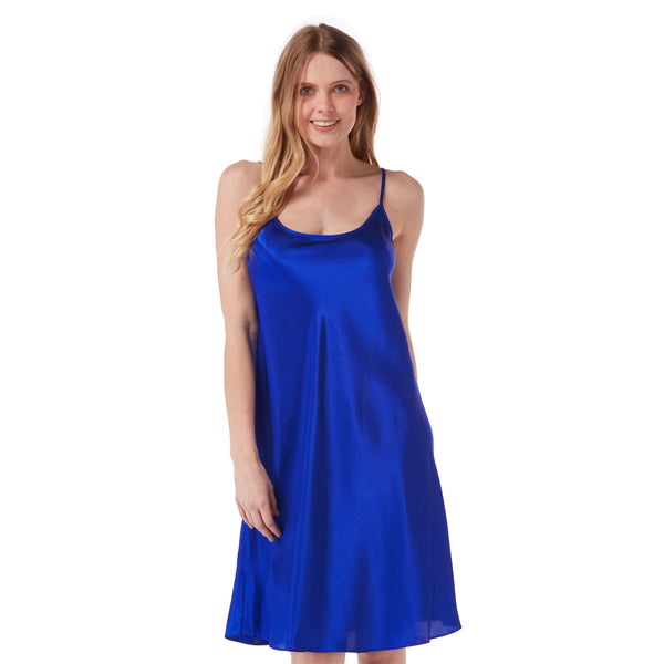 Plain Bright Blue Satin Chemise Nightie