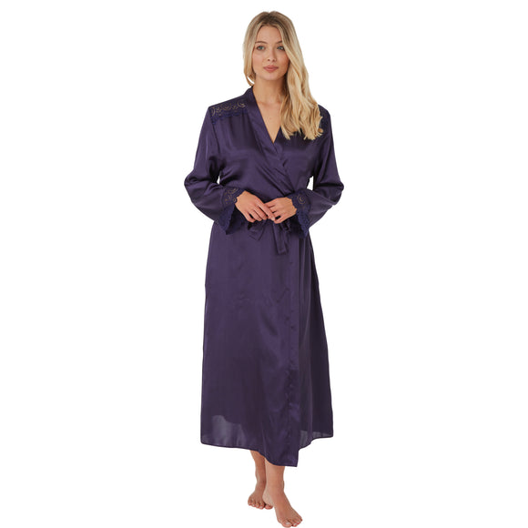 Long Plain Dark Navy Blue Satin and Lace Wrap PLUS SIZE