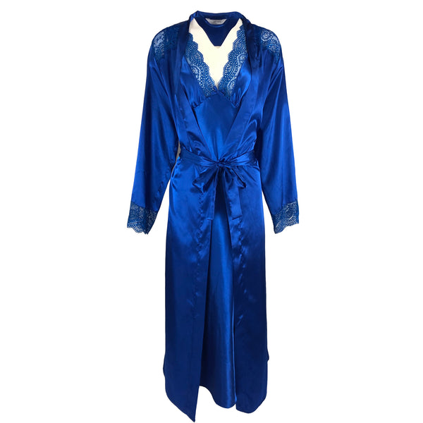 Matching Bright Blue Chemise Satin and Wrap Set