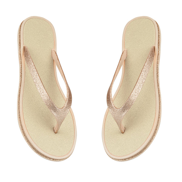 Gold Sparkle Toe Posts Flip Flops Beach Sandals