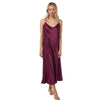 Long Full Length Plain Plum Purple Satin Chemise Nightdress PLUS SIZE