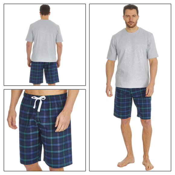 Mens Grey Blue Tartan Check PJs Pyjamas Set Short Sleeve T Shirt & Shorts