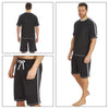 Mens Grey PJs Pyjamas Set Short Sleeve T Shirt & Shorts Side Stripe