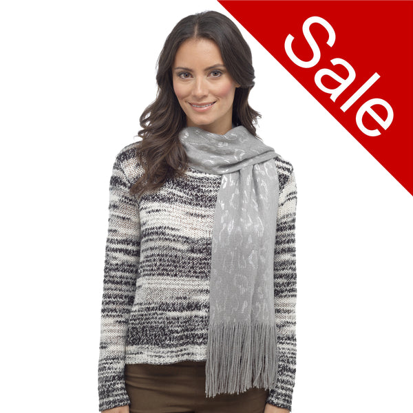 Ladies soft Knitted leopard animal print scarf grey