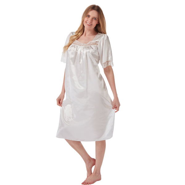 Plain Ivory Satin and Lace Short Sleeve Nightdress PLUS SIZE