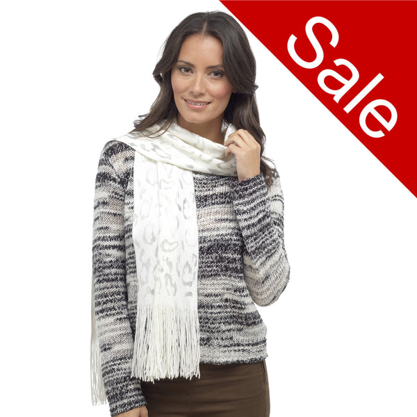 Ladies soft Knitted leopard animal print scarf Ivory