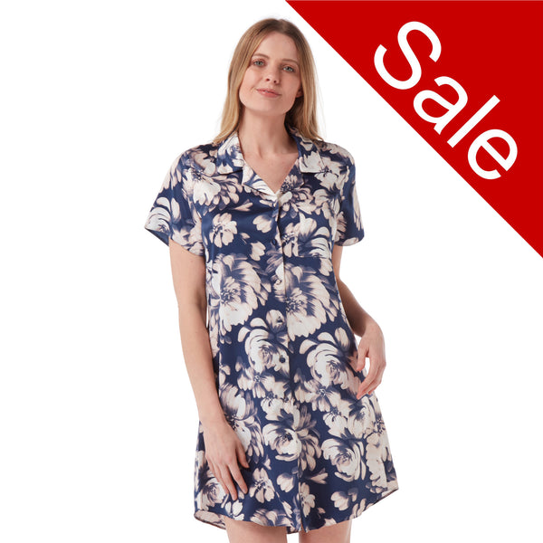 Sale Navy Floral Satin Nightshirt Short Sleeve Knee Length