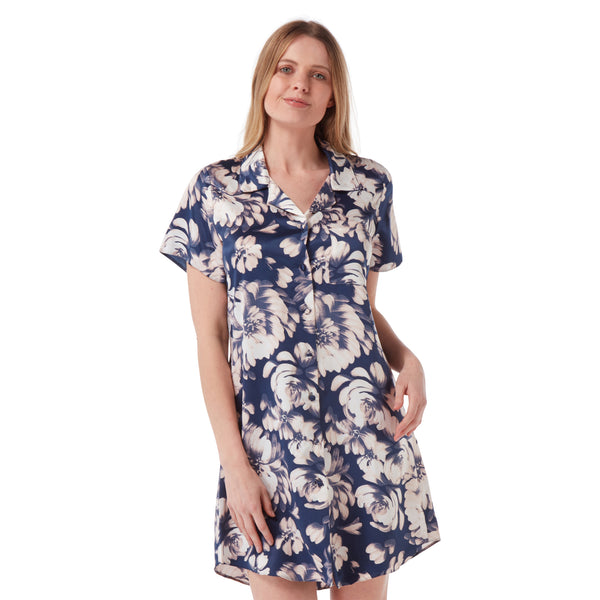 Navy Floral Satin Nightshirt Short Sleeve Knee Length