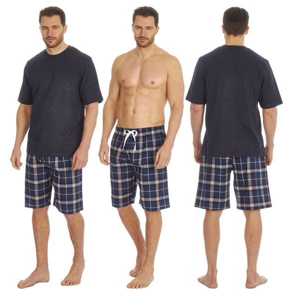 Mens Navy Tartan Check PJs Pyjamas Set Short Sleeve T Shirt & Shorts